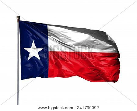 Flag Of State Of Texas On A Flagpole, Isolated On White Background.