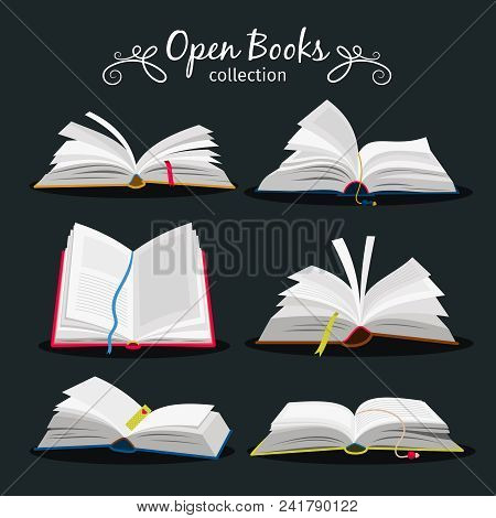 Open Books. New Open Book Set With Bookmark Between Pages For Encyclopedia And Notebook, Dictionary