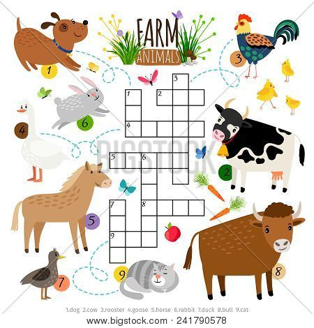 Farm Animals Crossword. Kids Crossing Word Search Puzzle Game With Cat And Cow, Dog And Cock, Horse