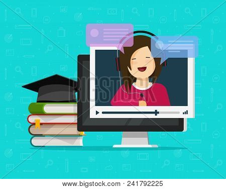 Webinar Vector Illustration, Flat Cartoon Computer Watching Video Online Internet Training, Educatio