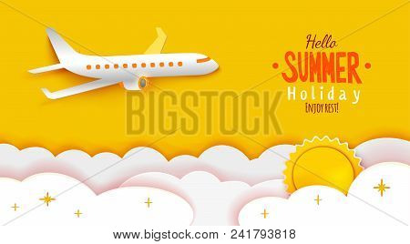 Airplane Aerial View Paper Art Cut Out On Yellow Sky Background With Sun And Clouds. Vector Illustra