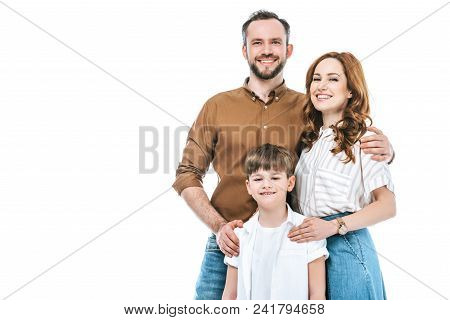 Beautiful Happy Family With One Kid Standing Together And Smiling At Camera Isolated On White