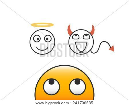 Good And Evil Concept. Emoticon Character Person Looking At His Conscience. Deciding Between The Goo