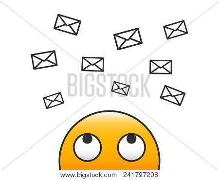 Email Character Person Looking At Incoming Email Flying To Him Through Envelopes. Receiving Messages