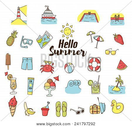 Summer Doodle Cartoon Icons. Vector Hand Drawn Icons. Vacations, Traveling, Beach Holidays And Summe