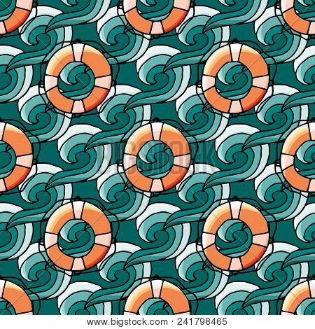 Seamless Pattern With Water Wave And Lifebuoy In Cartoon Style. For Web, Print And Textile Design. V