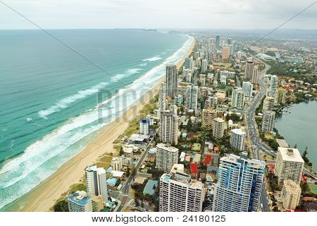 Aerial view of the famed Gold Coast in Queensland Australia looking from Surfers Paradise down to Coolangatta. poster
