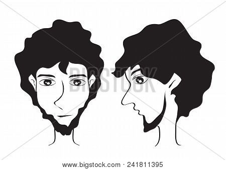 Bearded Men Faces Hipster Cartoon Vector Illustration, Young Man Short Hair Style Icon, Male Face, L