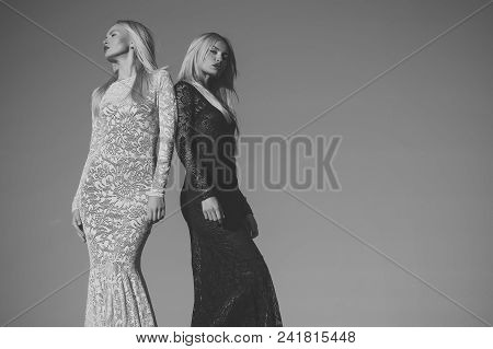 Sweet Holiday Day. Celebration Luxury Concept. Opposites And Contrasts Concept. Women Wearing Black