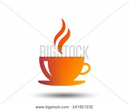 Coffee Cup Sign Icon. Hot Coffee Button. Hot Tea Drink With Steam. Blurred Gradient Design Element.