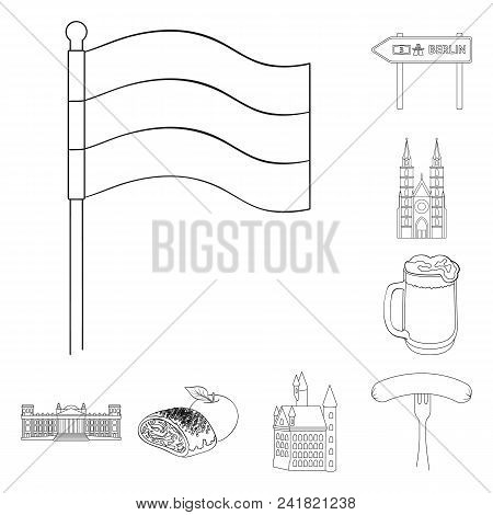 Country Germany Outline Icons In Set Collection For Design. Germany And Landmark Vector Symbol Stock