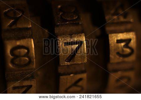 Retro Bronze Lock Number Combination. Shiny Vintage Codes. Code 873.