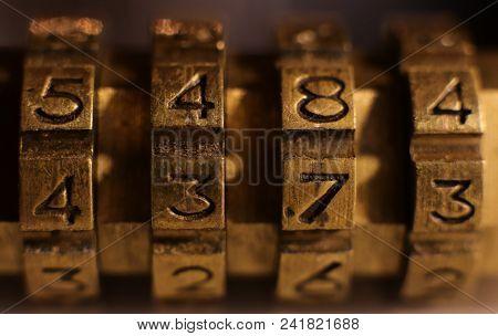 Retro Bronze Lock Number Combination. Shiny Vintage Codes: 5484 4373.