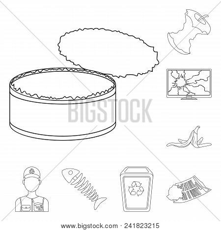 Garbage And Waste Outline Icons In Set Collection For Design. Cleaning Garbage Vector Symbol Stock