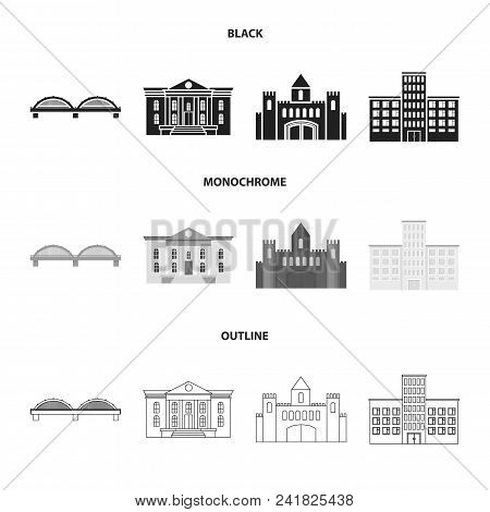 Museum, Bridge, Castle, Hospital.building Set Collection Icons In Black, Monochrome, Outline Style V