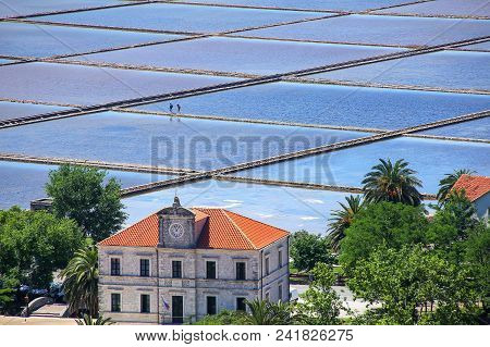 Slat Pans In Ston Town, Croatia. The Ston Salt Pans Are The Oldest In Europe And The Largest Preserv