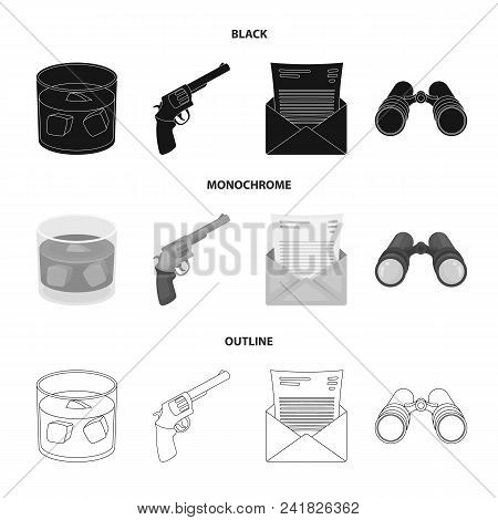A Glass Of Whiskey, A Gun, Binoculars, A Letter In An Envelope.detective Set Collection Icons In Bla