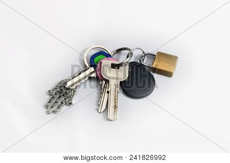 Keychain With Set Of Keys And A Padlock