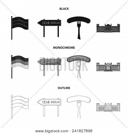 Country Germany Black, Monochrome, Outline Icons In Set Collection For Design. Germany And Landmark