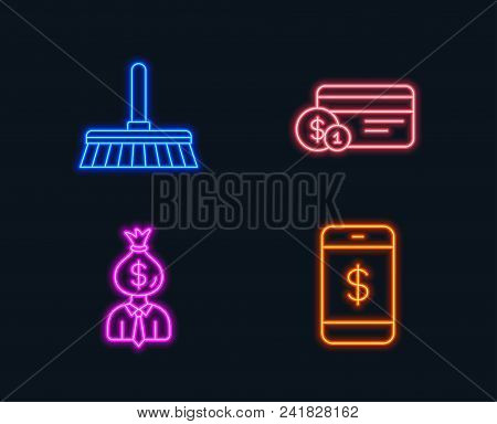 Neon Lights. Set Of Cleaning Mop, Payment Method And Manager Icons. Smartphone Payment Sign. Sweep A