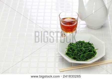 chinese white wine stir fried with toothed bur clover, shanghai cuisine poster