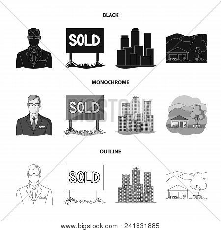 Employee Of The Agency, Sold, Metropolis, Country House. Realtor Set Collection Icons In Black, Mono