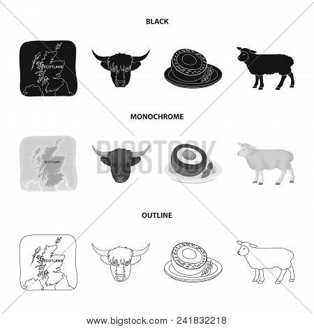 Territory On The Map, Bull Head, Cow, Eggs. Scotland Country Set Collection Icons In Black, Monochro