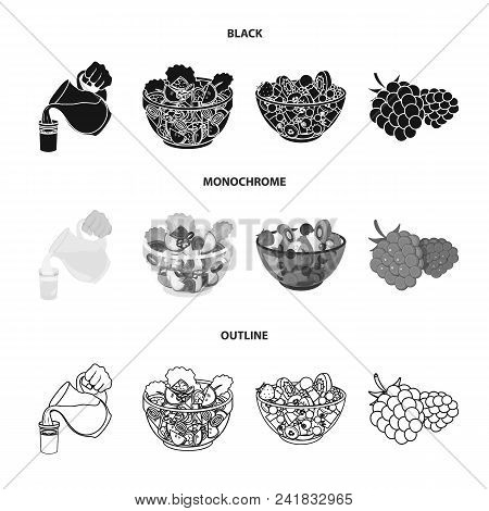Fruit, Vegetable Salad And Other Types Of Food. Food Set Collection Icons In Black, Monochrome, Outl