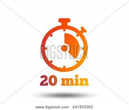 Timer Sign Icon. 20 Minutes Stopwatch Symbol. Blurred Gradient Design Element. Vivid Graphic Flat Ic