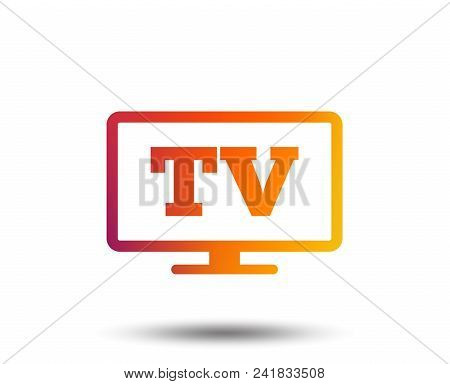 Widescreen Tv Sign Icon. Television Set Symbol. Blurred Gradient Design Element. Vivid Graphic Flat