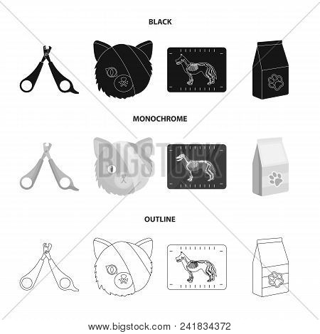 Scissors, Cat, Bandage, Wounded .vet Clinic Set Collection Icons In Black, Monochrome, Outline Style
