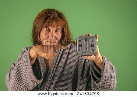 Retirement And Pension. Time Management And Business Success. Woman With Long Hair Hold Alarm Clock.