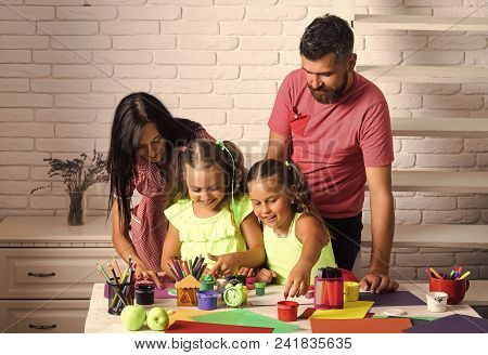 Kids Playing With Toys. Finger Painting And Arts. Girls Drawing With Mother And Father. Children Pla