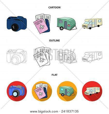 Vacation, Photo, Camera, Passport .family Holiday Set Collection Icons In Cartoon, Outline, Flat Sty