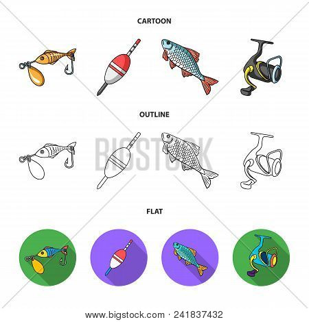 Fishing, Fish, Catch, Hook .fishing Set Collection Icons In Cartoon, Outline, Flat Style Vector Symb