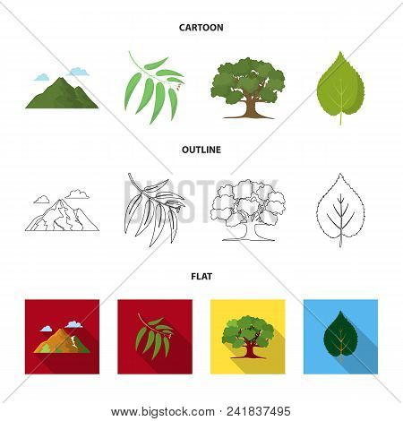 Mountain, Cloud, Tree, Branch, Leaf.forest Set Collection Icons In Cartoon, Outline, Flat Style Vect
