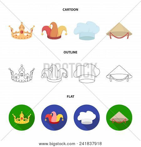 Crown, Jester Cap, Cook, Cone. Hats Set Collection Icons In Cartoon, Outline, Flat Style Vector Symb