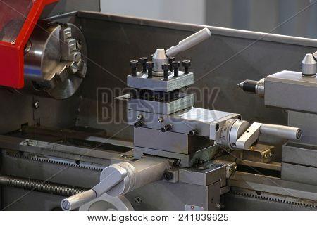 Metalworking lathe close up