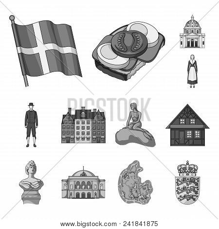 Country Denmark Monochrome Icons In Set Collection For Design. Travel And Attractions Denmark Vector