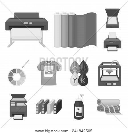 Typographical Products Monochrome Icons In Set Collection For Design. Printing And Equipment Vector