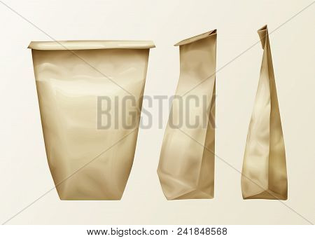 Vector Realistic Wrinkled Paper Bag Various View Set. Lunch Pack Or Food Snack, Kitchen Ingredients,