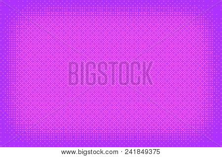 Pixel Pattern Background In Pink, Purple Color. 8 Bit Video Game Vector Illustration. Abstract Vigne