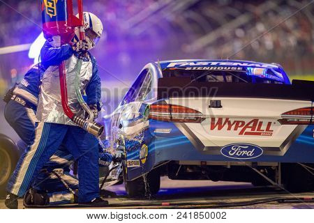 May 19, 2018 - Concord, North Carolina, USA: Ricky Stenhouse, Jr (17) makes a pit stop during the Monster Energy All-Star Race at Charlotte Motor Speedway in Concord, North Carolina.