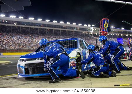 May 20, 2018 - Concord, North Carolina, USA: Kyle Larson (42) makes a pit stop for the Monster Energy All-Star Race at Charlotte Motor Speedway in Concord, North Carolina.