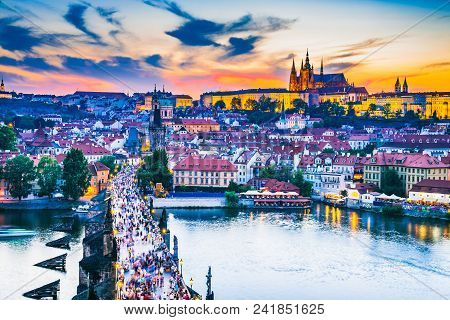 Prague, Czech Republic. Charles Bridge And Hradcany (prague Castle) With St. Vitus Cathedral And St.