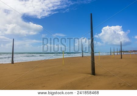 View of an empty beach in a overcast day