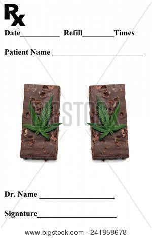 Prescription pad. Medical Marijuana Prescription Pad. Eatable Marijuana Brownies.
