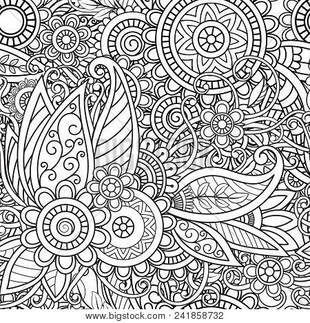 Ethnic Seamless Pattern With Mandalas, Flowers And Leaves. Doodles Floral Black And White Ornament.