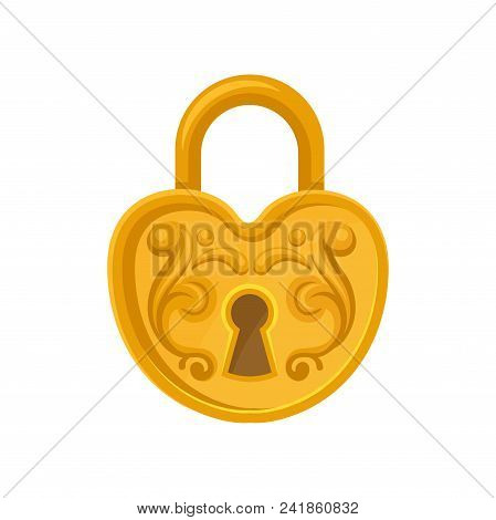 Cartoon Style Icon Of Heart-shaped Padlock. Golden Lock With Ornamental Engraving. Graphic Design Fo