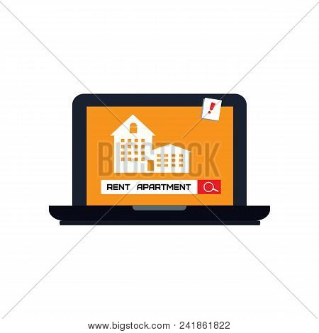 Rent Apartment Or Room. Man Rents Accommodation. Home Icon On Computer  Screen.vector Illustration I